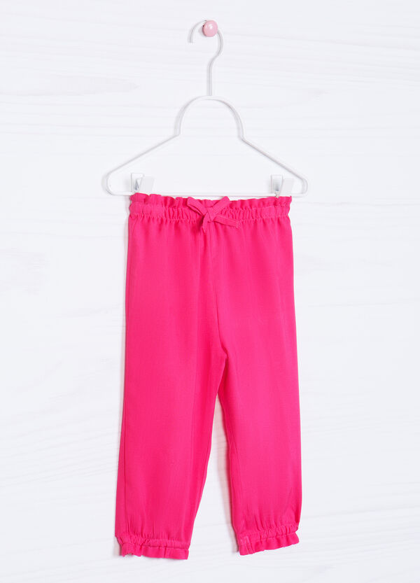 Solid colour 100% viscose trousers   OVS
