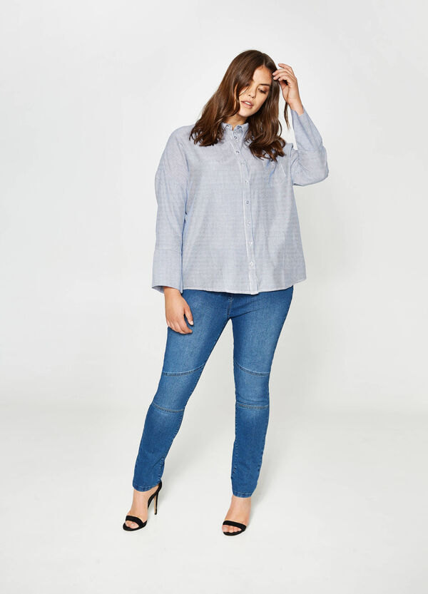 Curvy striped cotton shirt | OVS