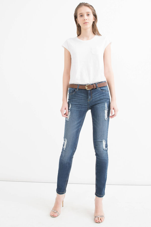 Slim fit stretch jeans with rips | OVS