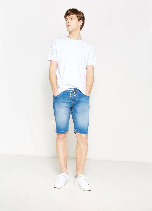 Slim-fit denim Bermuda shorts with drawstring | OVS