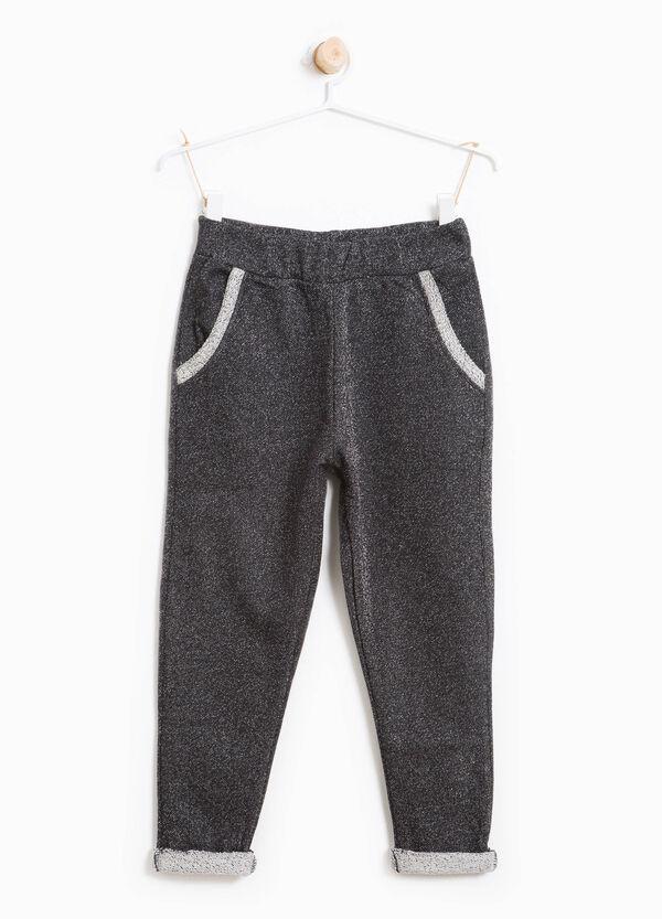 Pantaloni tuta in cotone stretch con lurex | OVS