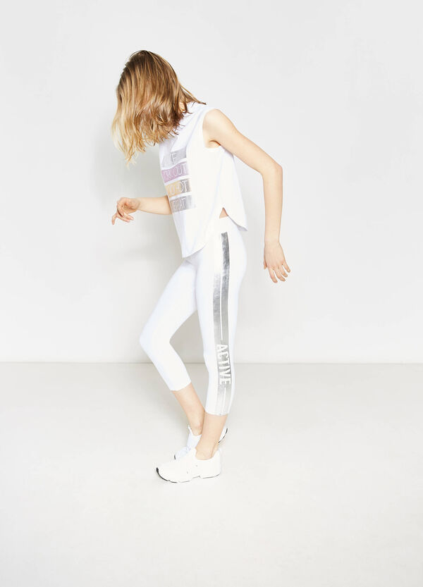 Crop leggings with contrasting print | OVS