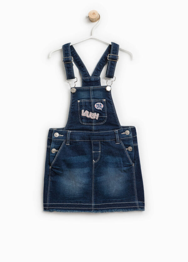 Stretch denim dungarees with patch | OVS