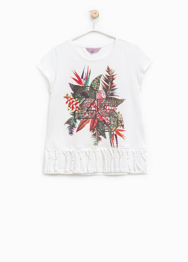 T-shirt with glitter print and fringes | OVS