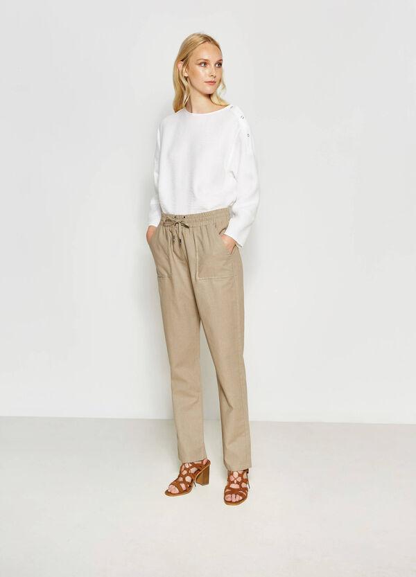 Pantaloni in cotone e lino | OVS