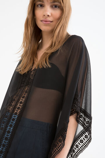 Semi-sheer openwork blouse