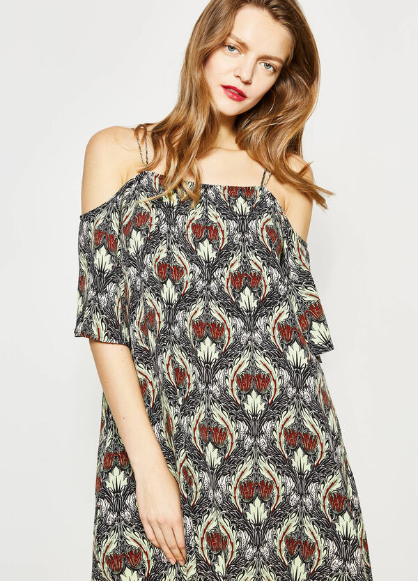 V neck dress with all-over print | OVS