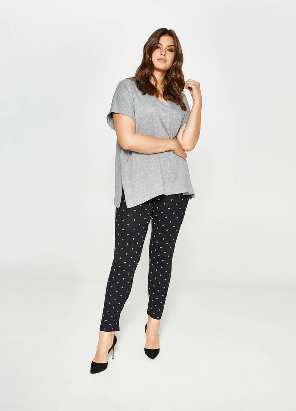 Curvy cotton leggings with print | OVS