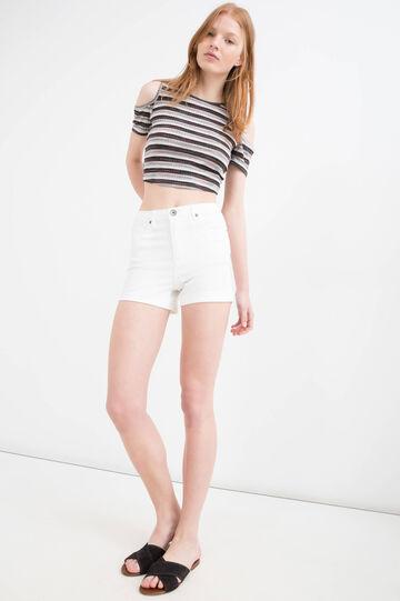 High-waist stretch denim shorts