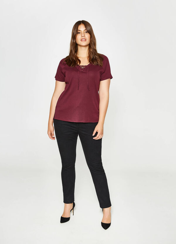 Curvy cotton T-shirt with laces | OVS