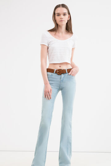 Crop stretch T-shirt with lace