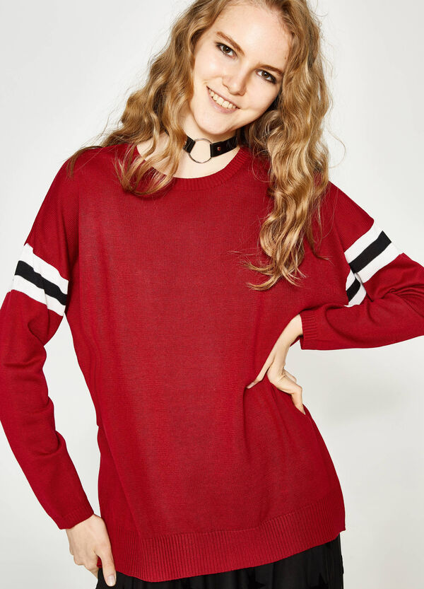 Cotton pullover with striped inserts | OVS