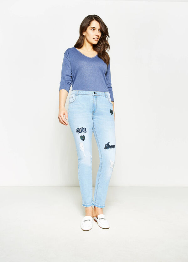 Jeans skinny fit stretch con paillettes Curvy | OVS