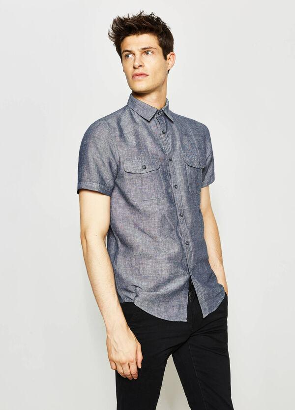 Camicia casual in chambray di lino   OVS