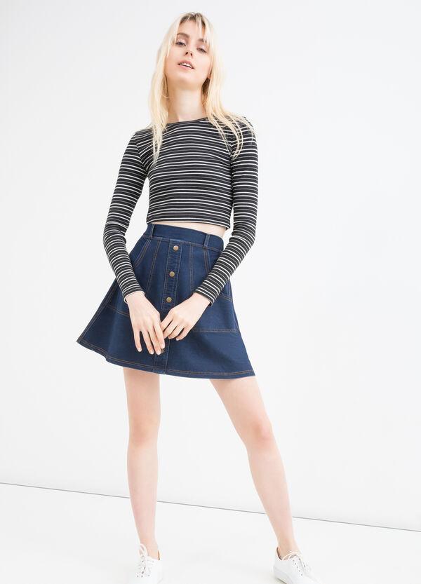 Stretch denim button skirt | OVS