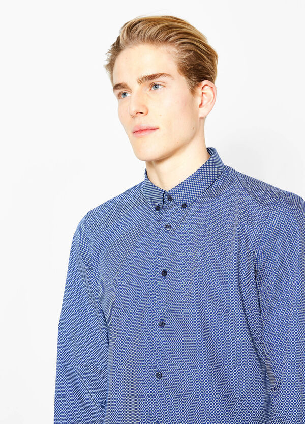 Slim-fit diamond-patterned casual shirt | OVS