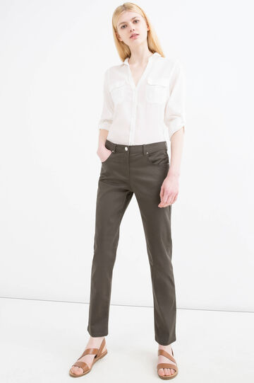 Plain stretch trousers