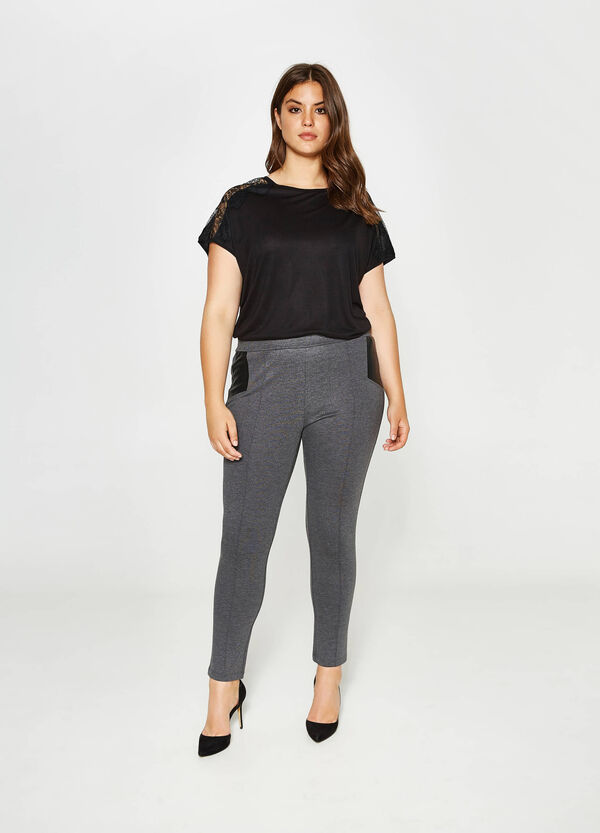 Curvy viscose leggings with inserts | OVS