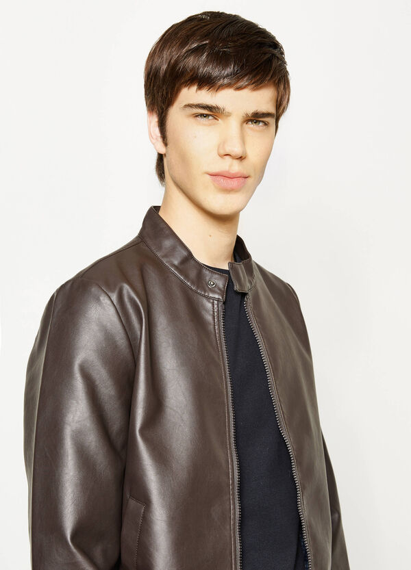 Leather-look jacket with round neck | OVS