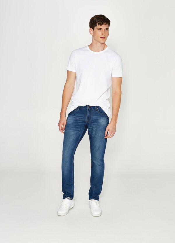 Jeans slim fit used con baffature | OVS
