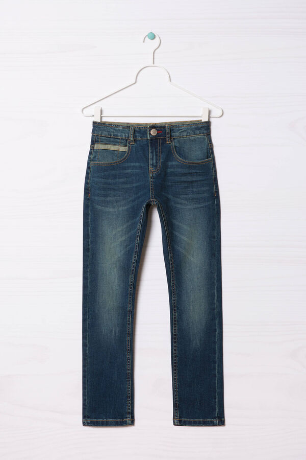 Jeans slim fit effetto used   OVS