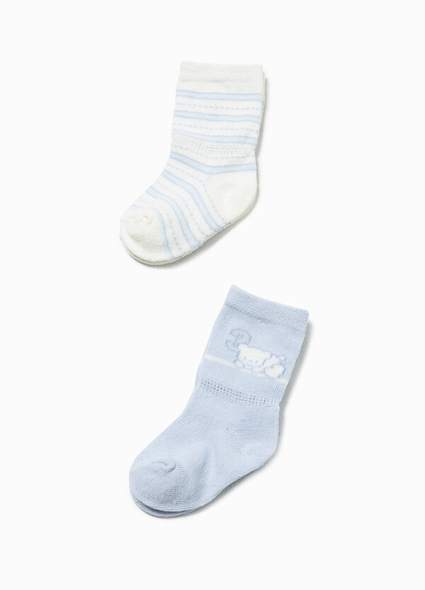Two-pair pack long socks in stretch cotton | OVS