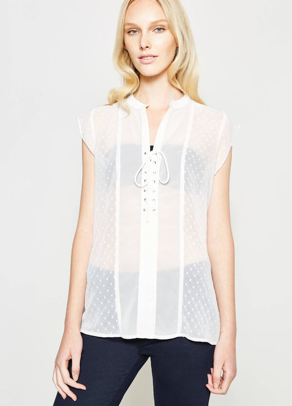 Semi-sheer blouse with dots | OVS