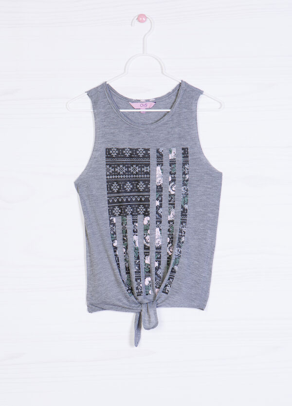 Printed cotton blend top   OVS