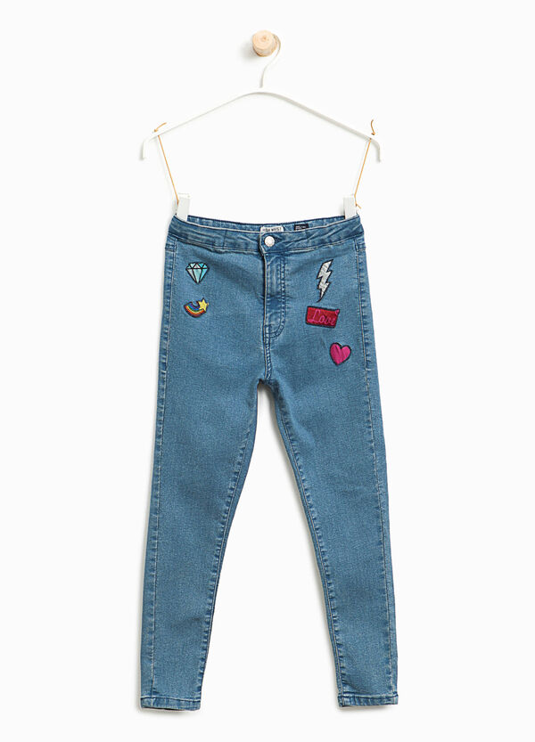 Skinny-fit high-waist jeans with patches | OVS