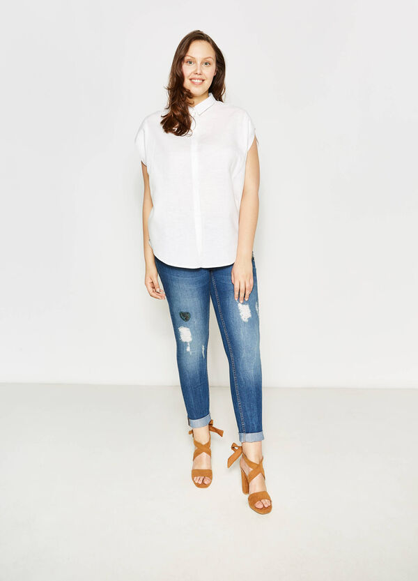 Curvy blouse in linen with bluff collar | OVS