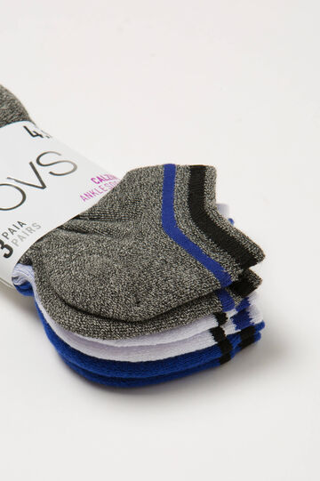 Three-pair pack short cotton stretch socks