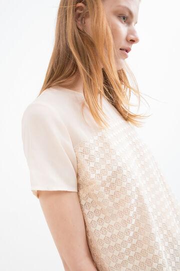 Solid colour crew neck blouse