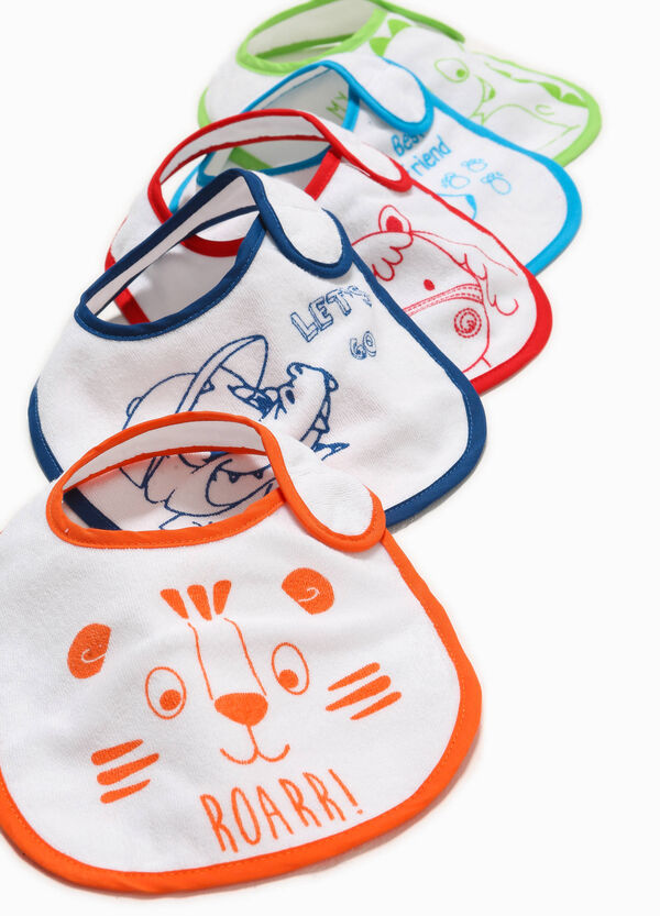 Five-pack printed cotton bibs | OVS
