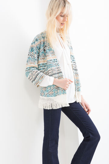 Fleece cardigan with pattern and fringes