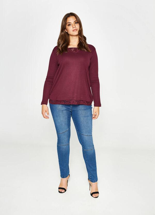 T-shirt in cotone con pizzo Curvy | OVS