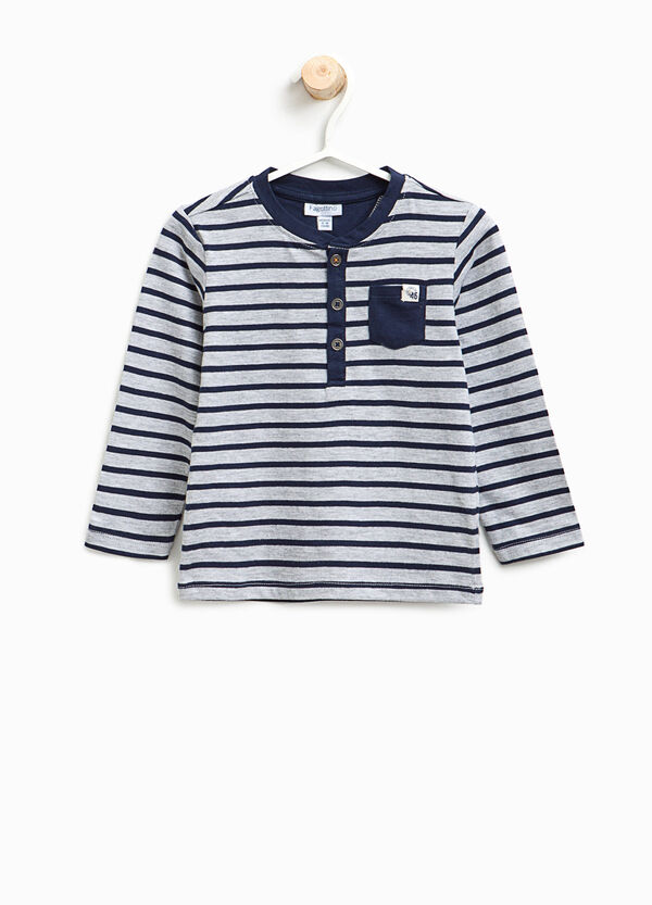 Viscose and cotton T-shirt with stripes | OVS