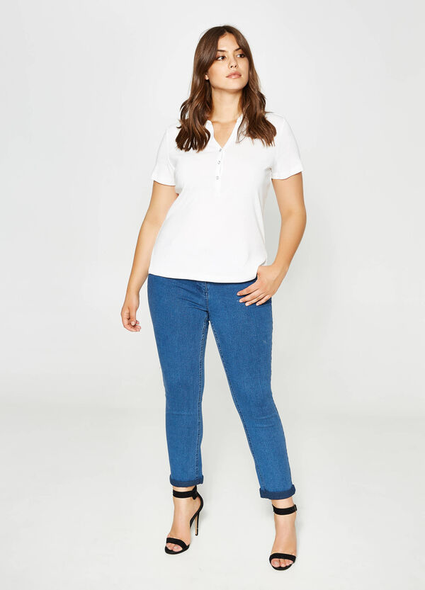 Curvy skinny-fit washed-effect stretch jeans | OVS