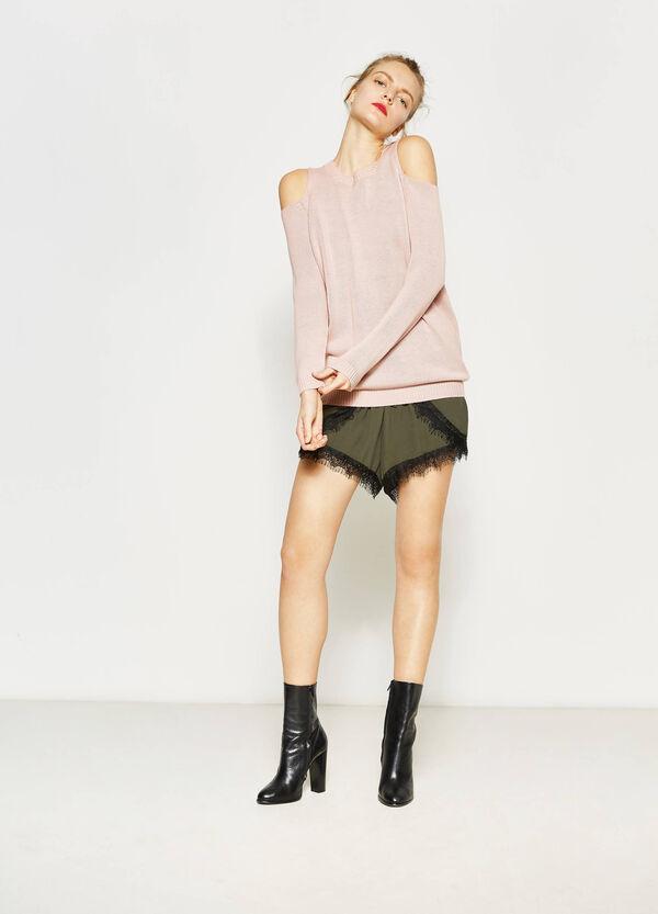 Shorts in pura viscosa con pizzo | OVS