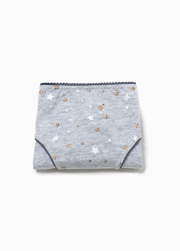 Patterned cotton briefs with glitter stars | OVS