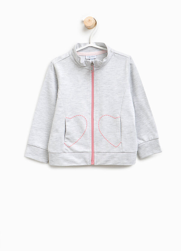Sweatshirt with high neck and hearts print | OVS