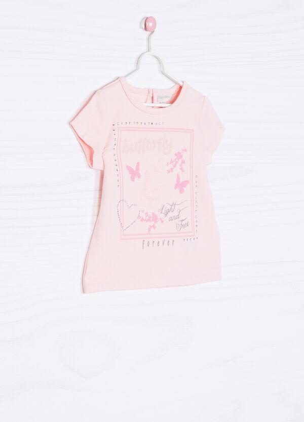 Diamanté stretch printed T-shirt   OVS