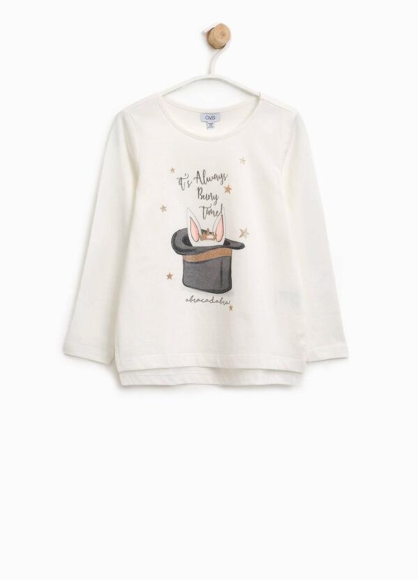 T-shirt in puro cotone stampa glitterata | OVS