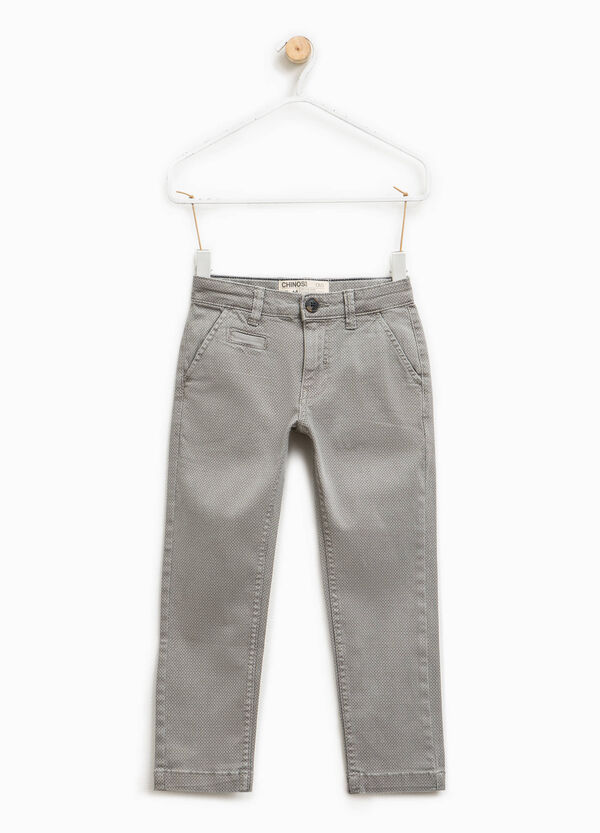 Chino trousers with micro check pattern   OVS