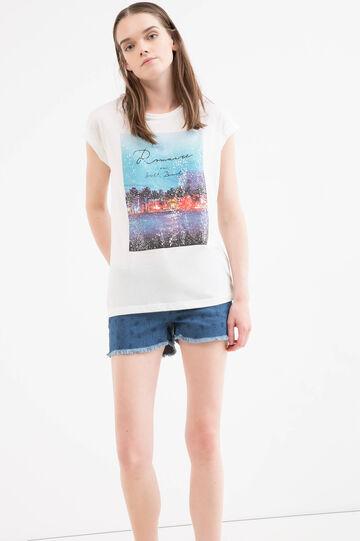 Solid colour cotton blend T-shirt