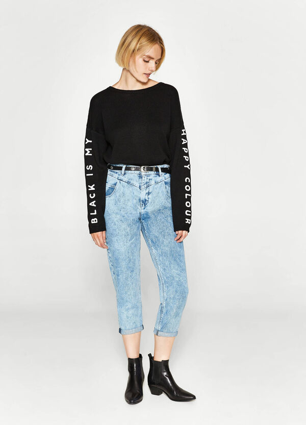 Jeans mom fit tinta unita cuciture   OVS