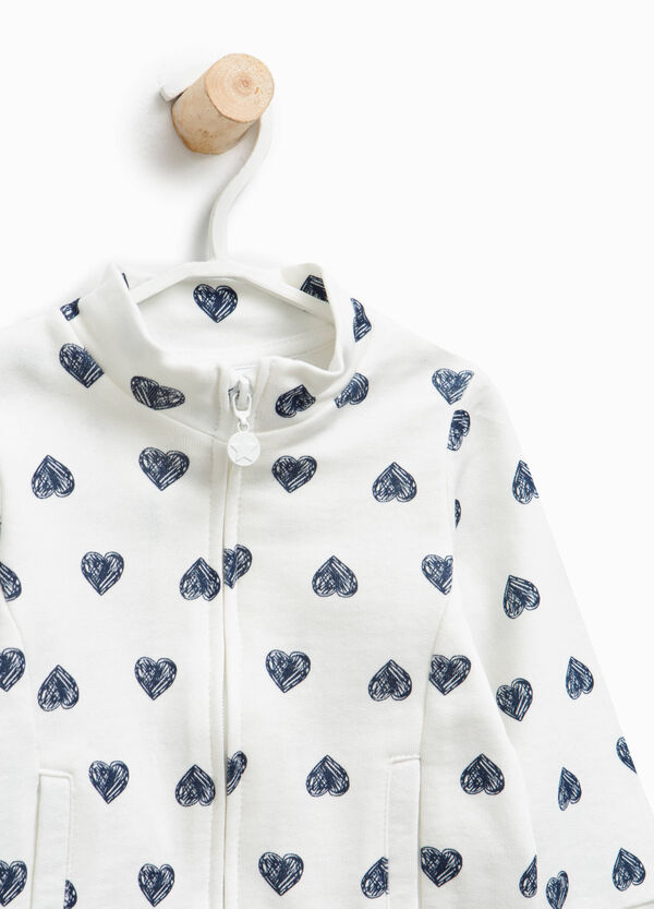 100% cotton sweatshirt with hearts | OVS