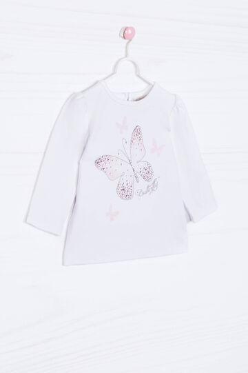 T-shirt cotone stretch con strass
