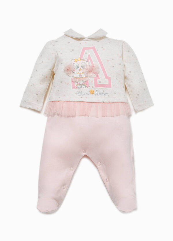 Patterned 100% cotton onesie with tulle | OVS