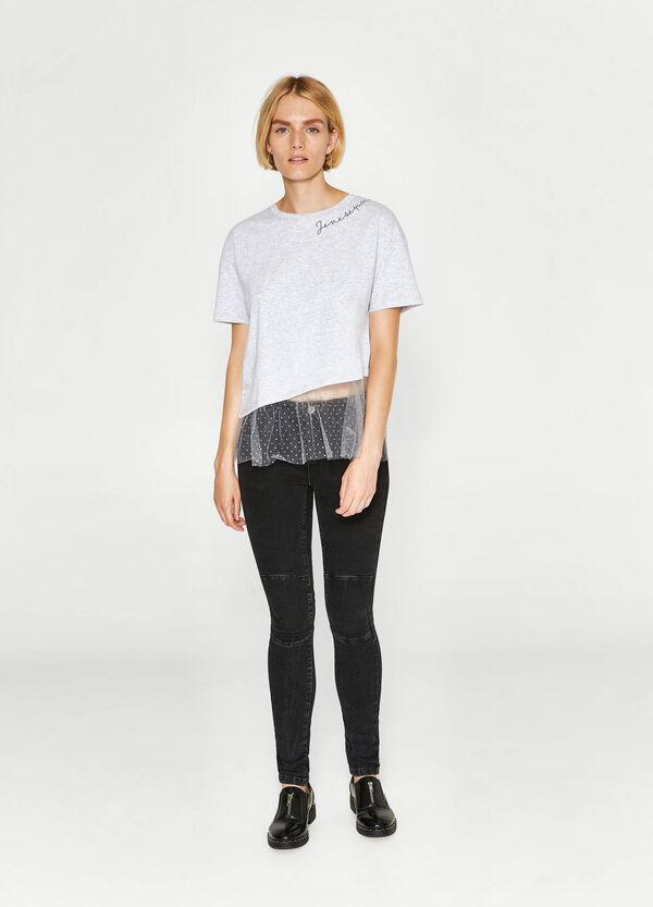 T-shirt in cotone con stampa e tulle | OVS