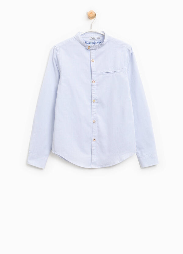 Shirt with micro stripes and Mandarin collar | OVS